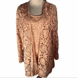 CHICOS 2 PIECE LACE SHELL AND JACKET
